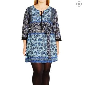 City Chic blue print tunic dress